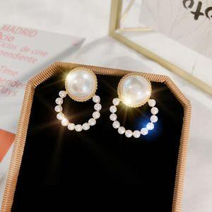 S1183 Hot Fashion Jewelry S925 Silver Post Earrings Vintage Faux Pearl Circle Stud Earrings