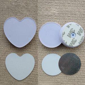 Сердце образный сотовый телефон держателя с Groove пустой алюминиевой сублимации Вставка для пользовательских Customized Грип телефона Стенд держатель