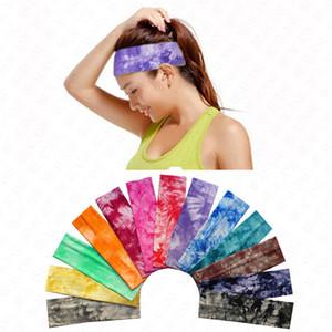 banda para el cabello Deportes algodón Color tie-dye impreso diadema D62906 Bandas vendas elásticos Mujeres Niñas flores del pelo headwraps turbante Headwear