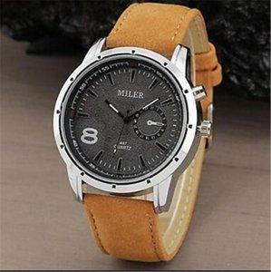 2020 Relogio Masculino MILER Watches Men Army Sports Watches Brown Leather Band Quartz Wristwatches Horloge Heren 8