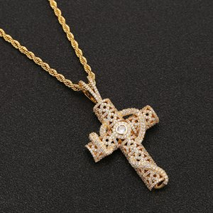 Gioielli fuori ghiacciato animali Snake Ciondolo Croce con Campo della collana della catena di colore oro zirconi Uomini Hiphop Roccia