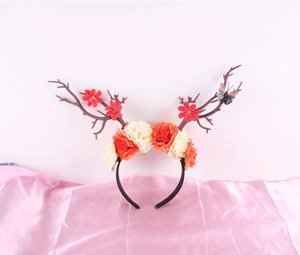 2019 Europa e Stati Uniti Forest Branches Hairband Yarn Roses Christmas Forest Party Elk Horn Headdress Studio Stage Party