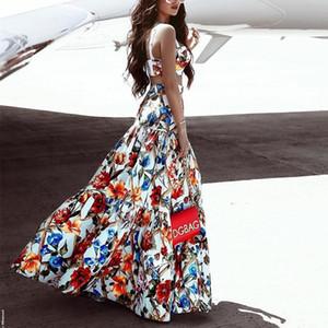 Fashion-Womens Dress Sleeveless 2Pcs Sets Ruffled Western Style Sexy Leisure Beach Skirt Flora Printed Dresses