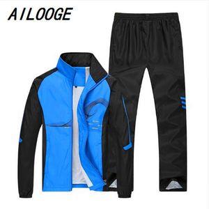 Men's Tracksuits AILOOGE 2021 Spring Brand Tracksuit Men Sportswear Jacket+Pant Sweatsuit Two Piece Set Mens Sweatshirt Sporting Suit Clothi
