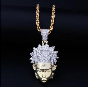 14K GOLD ICED OUT CZ BLING NARUTO PENDENTIF COLLIER HOMMES HIP HOP Micro Pave Cubic Zircon Diamants Simulés