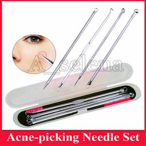 4PCS Mitesser Extractor-Silber-Schwarz-Punkt-Reiniger schwarze Flecken Spore-Reiniger-Tool Akne Blemish Remover Needles Set
