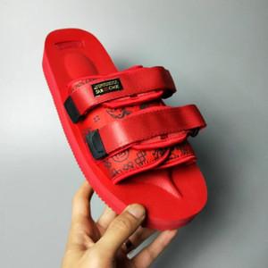En Kaliteli Kırmızı BEZ X SUICOKE OG-056STU MOTO-STU Yaz Gezisi Fest Siyah ipek Sole Sandal Slaytlar SUICOKE KISEEOK-044V Terlik n0149