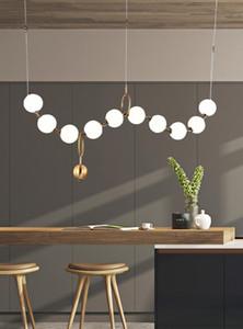 Luxo Simplicidade Pérola Colar Lobby Lustre Iluminação De Vidro Da Arte LuzesSala De Estar Modelo Showroom Salão Personalidade Bolha lâmpadas