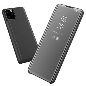 Pour iPhone 11 Pro Max Case Luxe Effacer la fenêtre d'affichage galvanoplastie placage Support inrayable Full Body Flip Ultra Slim Cover pour