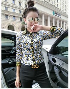 Manera imprimió la tela escocesa de lujo de diseño camisas Primavera Otoño Las mujeres de manga larga solapa del cuello de la blusa de las señoras de la pista Botón de Office tapas de la camisa