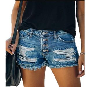 Verano de las mujeres de la borla de Jean Shorts Casual Distrressed rectos del agujero de pecho pantalones cortos mujeres mediados de cintura pantalones cortos de mezclilla