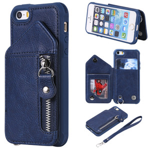 For iPhone 5S Case Zipper Humanized Card Slot Design Cover Double buckle Stand shockproof For iPhone SE