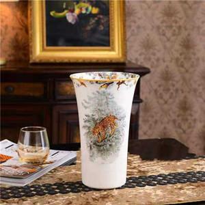 Лидирующий Керамическая ваза для животных ваза Домашнее украшение Мебель Статьи в европейском стиле Leopard шаблон фарфоровая ваза Новоселье подарок