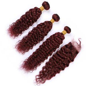 Влажные и Волнистые перуанские бургундские переплетений человеческих волос с Closure # 99J Wine Red Water Wave Virgin 3Bundles волос с кружевом Закрытие 4шт Лота