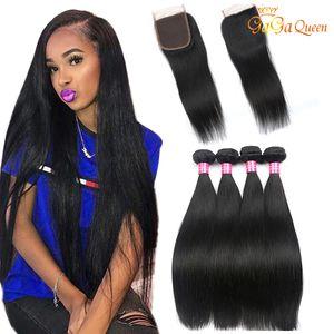 Brasileiro Virgin Cabelo Pacotes com fecho de 100% Brasileira Straight cabelo humano com fechamento Brazillian linha reta cabelo Weave Extensions
