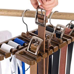Lot de 2 Tie Ceinture Organisateur Support de rangement, Multifuction Rotating Ties écharpe cintre Porte Closet Organisation Armoire rack Finition