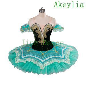 Panqueques profesional tutu mujeres aqua princesa florina niñas adulto profesional ballet tutus verde raymonda clásico ballet alineada