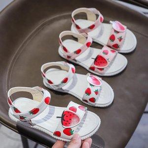 Çocuklar Casual Düz ayakkabı mädchen schuhe için Yürüyor Bebek Çocuk Kız bebekler Sandalet Yaz Karikatür Çilek Baskı Sandalet