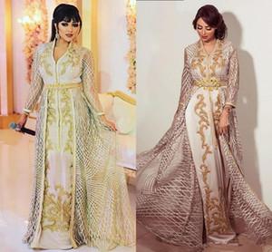 Fas Kaftan Elbise Zarif akşam Formal Elbise 2019 Hüsniye Moda Artı boyutu Abiye Giyim Akşam Uzun Kollu elbise de soiree Wear