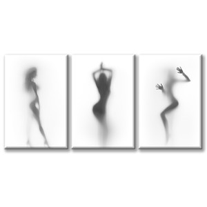 """Bathroom Wall Art Decor Canvas Print Black and White Hazy Silhouette Painting 3 Pieces Modern Abstract Picture Artwork for Home Decoration"