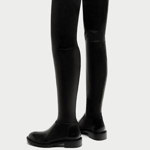 Botas de mujer Sobre la rodilla Otoño Invierno Botas de cuero de vaca Fiats con zapatos Suave Stovepipe Boots Peluche corto