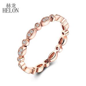 Helon Fine Diamonds Band Sólido 14k Rosa de Oro Pave Bisel Ajuste Anillo de Bodas de Diamante Natural Art Deco Aniversario Aniversario Band J190703
