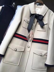 cappotto 100% di lusso invernale di fascia alta moda di marca di lana dell'annata delle donne di spessore a maniche lunghe lunghe di lana