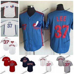 Mens Vintage Montreal Expos 37 Bill Lee baseball pullover poco costoso bianco blu # 37 camice Bill Lee cucita M-XXXL