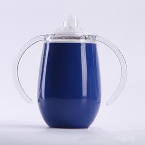10 Unzen Sippy Cups mit Griffen Edelstahl mit doppeltem Griff Cup Wärme / Kälte Erhaltung Tasse Vacuum Insulated Kaffeetasse A03