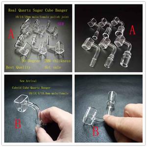 Pieds à ongles cloués exclusifs polis clairs Quartz Sugar Cube Banger Square Banger 10mm / 14mm / 19mm femelle pour vente de pipe à eau en verre bong