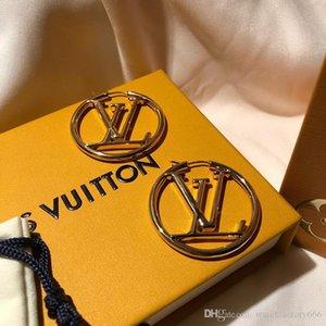 L boucles d'oreilles luxe grande LU célèbre marque logo bijoux design orecchini dormeuses fashional monogramme resille boîte originale