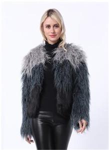 Frauen arbeiten Desigenr Faux-Pelz-Mantel-langen Nerz-Faux-Mantel-Imitat-Pelz-Outwear beiläufige lange Hülsen-Damen-Kleidung um