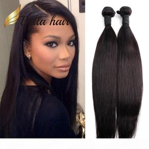 2pcs lot Double Weft Peruvian Hair Weave Weft Natural Black Color 100% Human Hair Extension Braid Bella Hair Julienchina U.S. Free Shipping