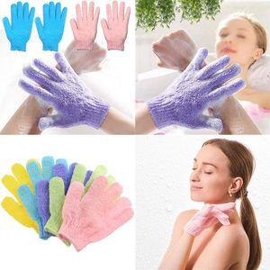 2020 Esfoliante Wash Luvas de pele do corpo de banho Mittens Scrub Massagem Banheira de Hidromassagem dedo Luvas esponja de banho Washcloths pele Duche limpeza