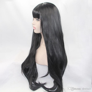 Lace Front Wig With Bang Black Color Long Straight Hair Full Fringe For Women Heat Resistant Synthetic Wigs With Bangs