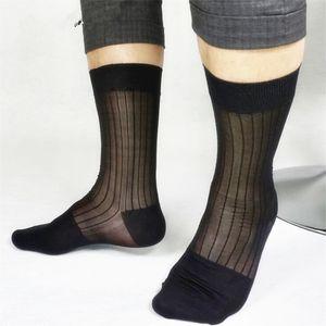 الرجال الأعمال السوداء مخطط الجوارب محض خفيفة الوزن خمر اللباس الرسمي البدلة طويلة الجوارب ناعمة شبكة النايلون الجوارب الحرير