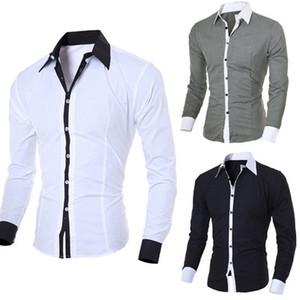 Erkek Gömlek Uzun Kollu Beyaz Moda Katı Casual Gömlek Tops Slim Fit Düz Erkek Giyim Tops