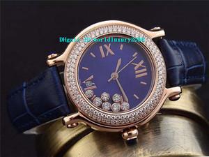 Oro Rosa Diamante Happy Sport Medio 36mm reloj de señoras de la madre de la línea de perlas azul zafiro cocodrilo cuarzo de cuero para mujer Reloj de pulsera suizo