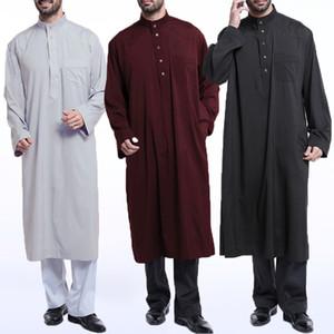 INCERUN Mens Muslim Saudi Arabic Thobe Kaftan Dress Robe Long Sleeve Jubba Thobe Men Saudi Arab Muslim Islamic Clothing 5XL 2020