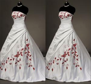 Белые атласные красные вышитые свадебные платья плюс размер бальное платье для невесты 2019 без бретелек на шнуровке складки драпированные старинные свадебные платья