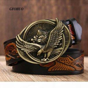 Le cinghie di cuoio degli uomini casuali GFOHUO nuovo modo maschile di prima qualità Aquila Totem rame Smooth jeans Retro Belt Buckle per gli uomini di