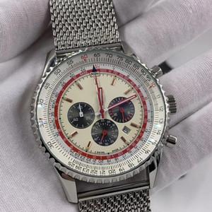 46MM Blanco Dial cronógrafo de cuarzo Breit y Ling para hombre Relojes de pulsera luminosa Índice con plata-tono pulsera de malla de acero inoxidable