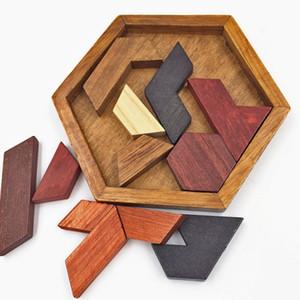 Montessori 3D Educatif En Bois Puzzle Jouets Pour Enfants Géométrique Hexagone Puzzle Pièces Sagesse Enfants cadeau