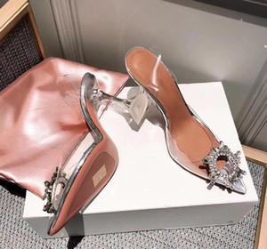 Hot Sale-Qualität Amina Begum Schuhe Kristall-verschönerte Pvc Sling Pumpen Muaddi Nachlieferungen Begum Pvc Slingbacks Sandelholz-Absatz