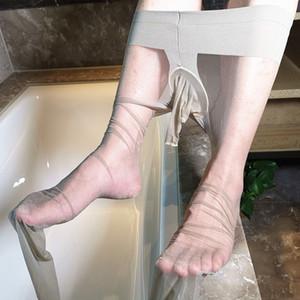 Sexy Strümpfe Mann Exotic Penis Abdeckhülse Socken Herren Thin Strumpfhosen der Männer Sex Low Waist Male Lingerie Strumpfhosen Stripper Strumpfwaren