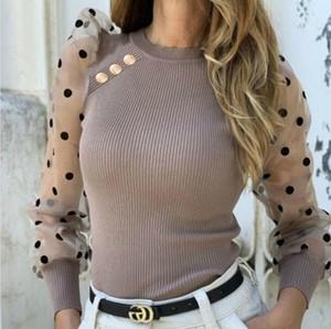 Сетка из рукава в рукавах рукава футболки женские кнопки панель сладкие сексуальные тонкие точки экипажа шеи футболки женские модные тройники