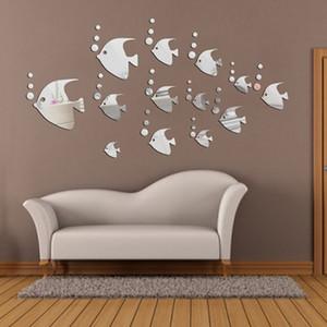 13 PC forman a plata de los pescados tropicales de papel de pared pegatinas de pared de acrílico Espejo pared pegatinas Inicio accesorios decorativos