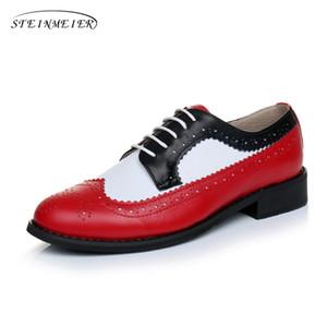 Mujeres Pisos Oxford mujer de los zapatos de cuero genuino las zapatillas de deporte de las señoras de la vendimia Brogues amantes ocasionales Zapatos Oxfords zapatos para las mujeres