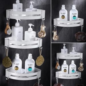 Tuqiu Canto do banheiro prateleira de parede montada Branco Alumínio Casa de Banho Duche Prateleira Bath Shampoo Titular Basket Titular Canto