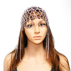 Egyptian Tribal Bohemia India Women Exotic Cleopatra Resin Beaded Belly Dance Head Cap Hat Hair Accessory African Ethnic Jewelry
